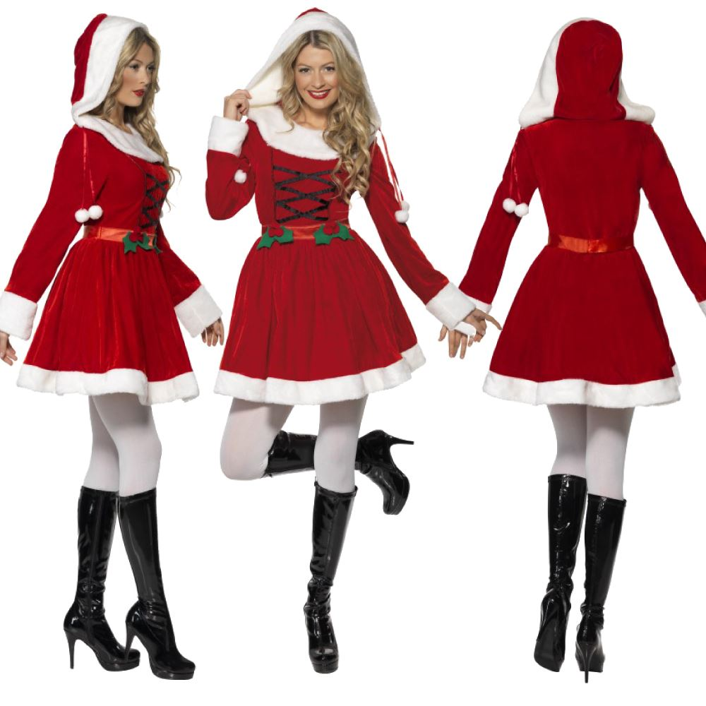 Womens miss santa costume mrs claus father christmas xmas