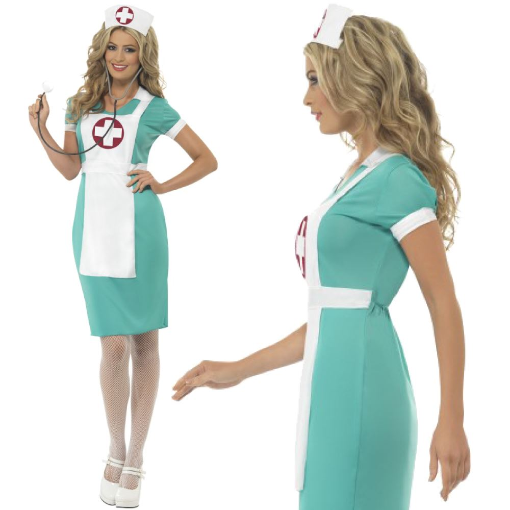 Womens Scrub Nurse Uniform Costume Ladies Adult Fancy Dress Hen ...