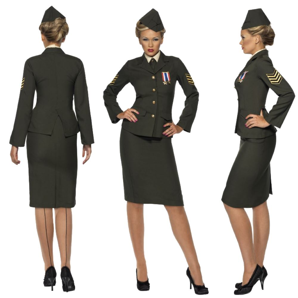 World war ii costumes for women ebay womens wartime 1940s ww2 army officer uniform fancy dress costume uk gumiabroncs Gallery