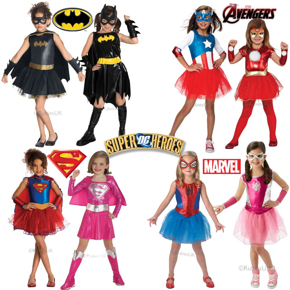 Girls Official Superhero Fancy Dress Costumes  sc 1 st  eBay & Girls Superhero Costume Kids Super Hero Fancy Dress Outfit Age 3-10y ...