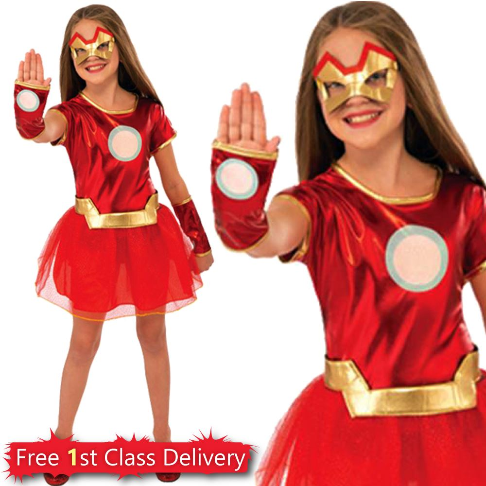 Girls-Superhero-Costume-Kids-Super-Hero-Fancy-Dress-  sc 1 st  eBay & Girls Superhero Costume Kids Super Hero Fancy Dress Outfit Age 3-10y ...