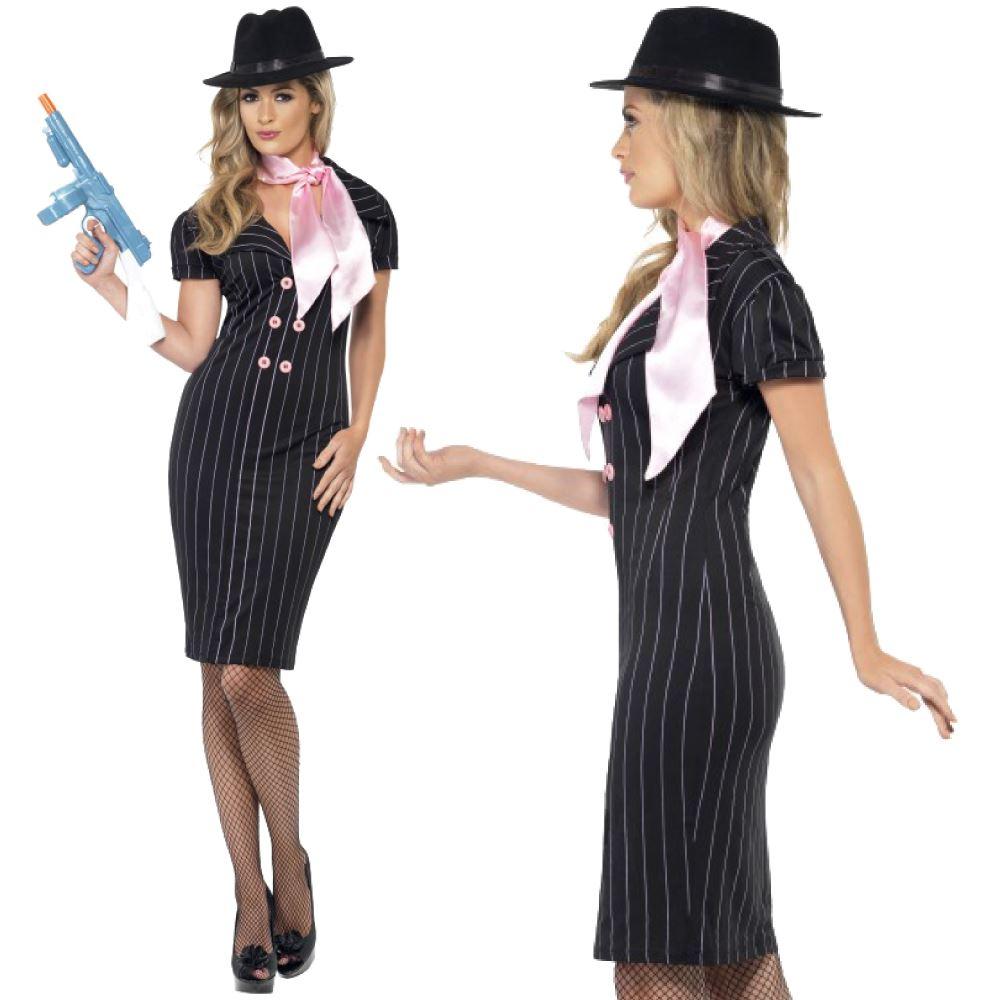 Ladies Gangsters Moll Costume  sc 1 st  eBay & Womens Gangster Moll Costume Pinstripe Mafia Ladies 1920s Fancy ...