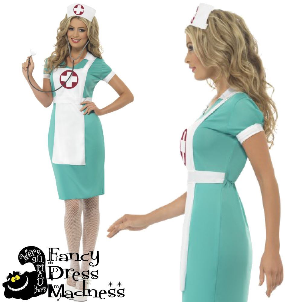 Scrub Nurse Uniform Ladies Fancy Dress Costume Smiffys Womens Hen ...