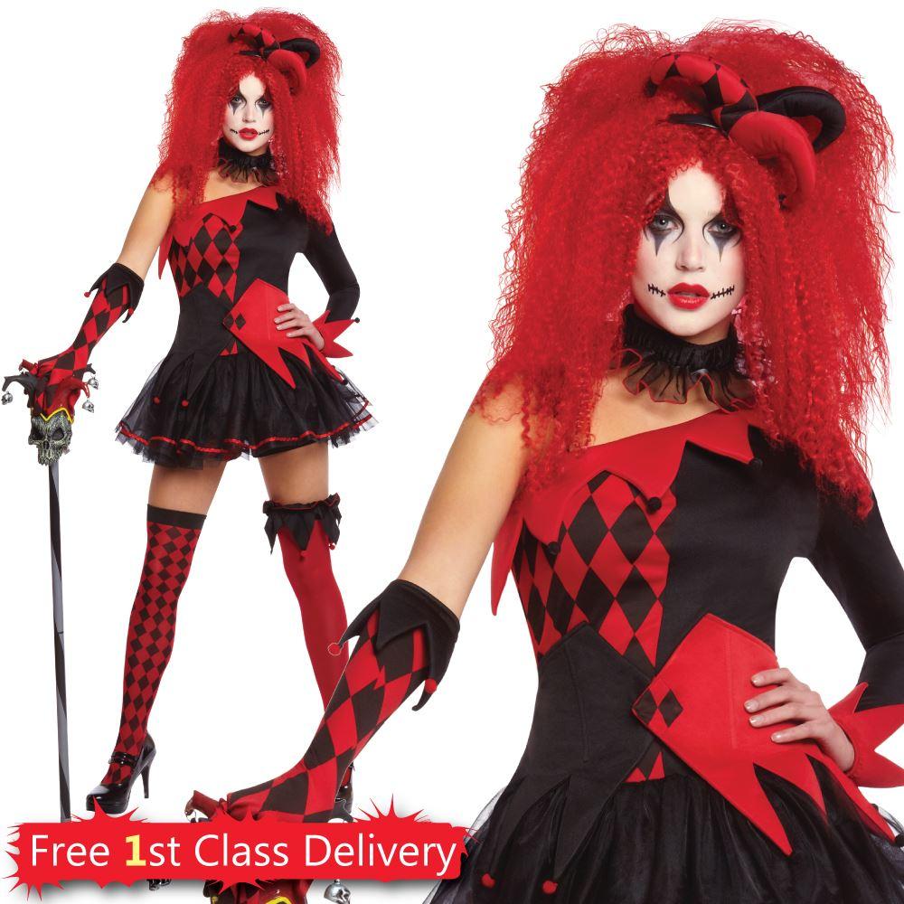 10df6b65bc79e7 Womens-Jesterina-Fancy-Dress-Costume-Halloween-Jester-Clown- Sc 1 St EBay