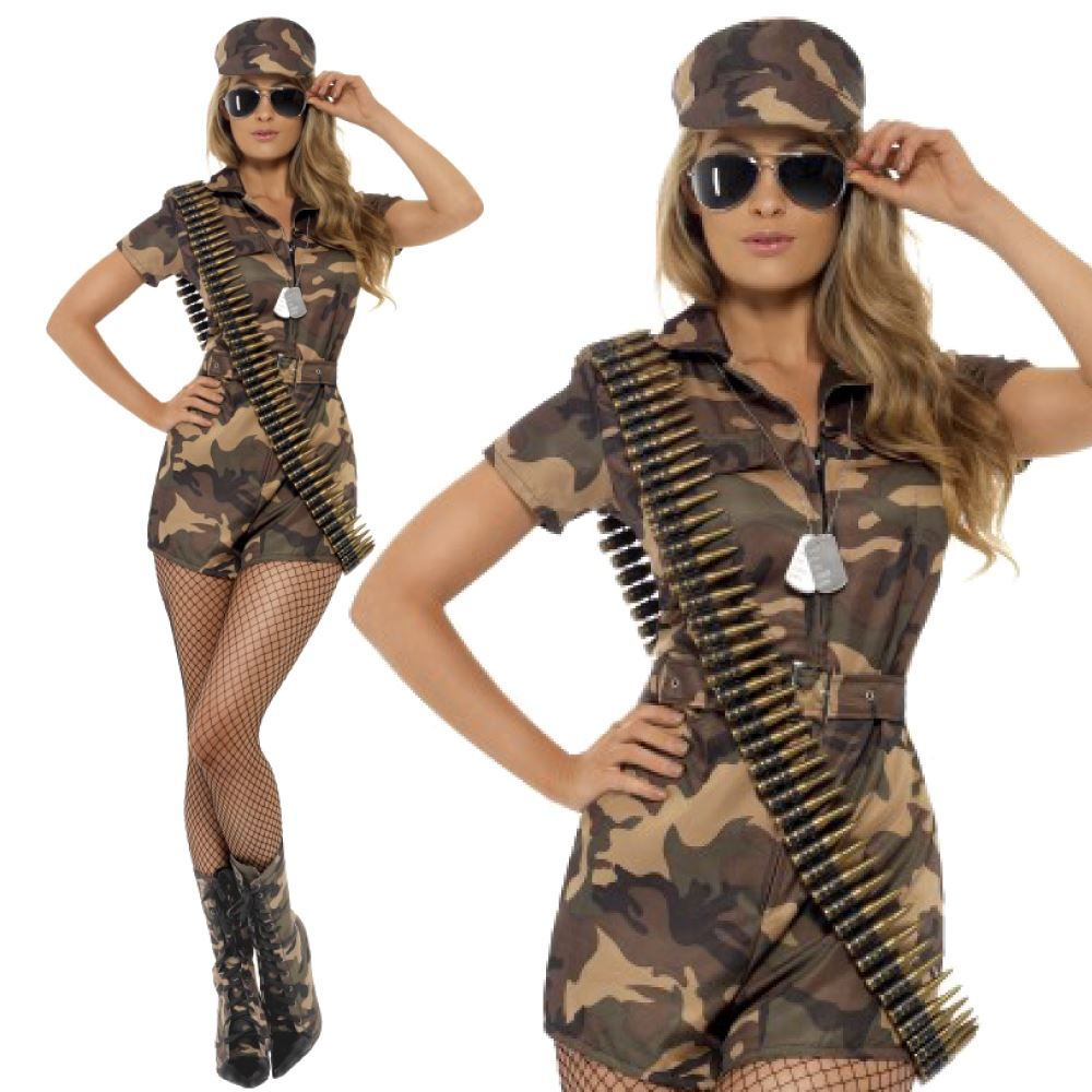 Adult-Army-Soldier-Costume-Womens-Ladies-Girl-Camo-  sc 1 st  eBay & Adult Army Soldier Costume Womens Ladies Girl Camo Uniform Fancy ...