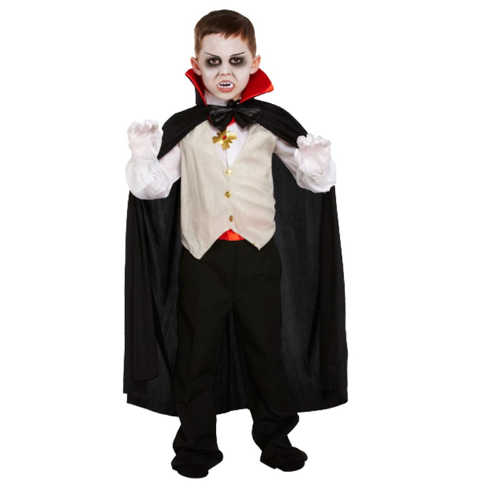 Kids Classic Vampire Halloween Costume Dracula Fancy Dress Age 4 ...