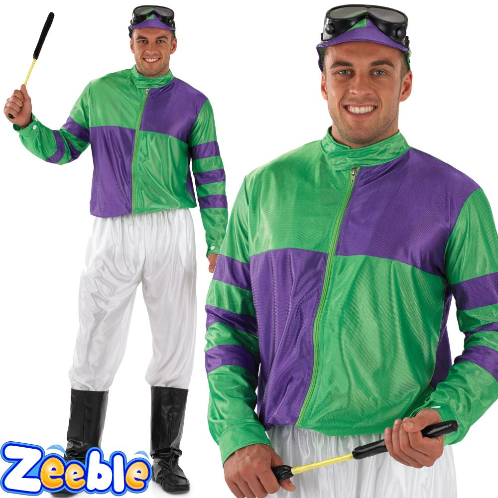 Adult Jockey Costume Horse Racing Rider Fancy Dress Outfit | eBay