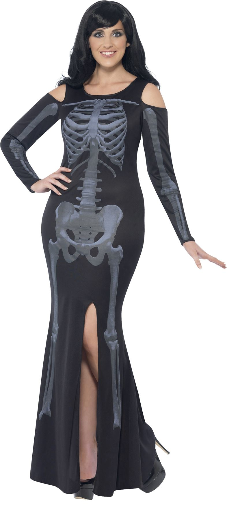 Ladies Curvy Skeleton Halloween Plus Size Fancy Dress Costume 01
