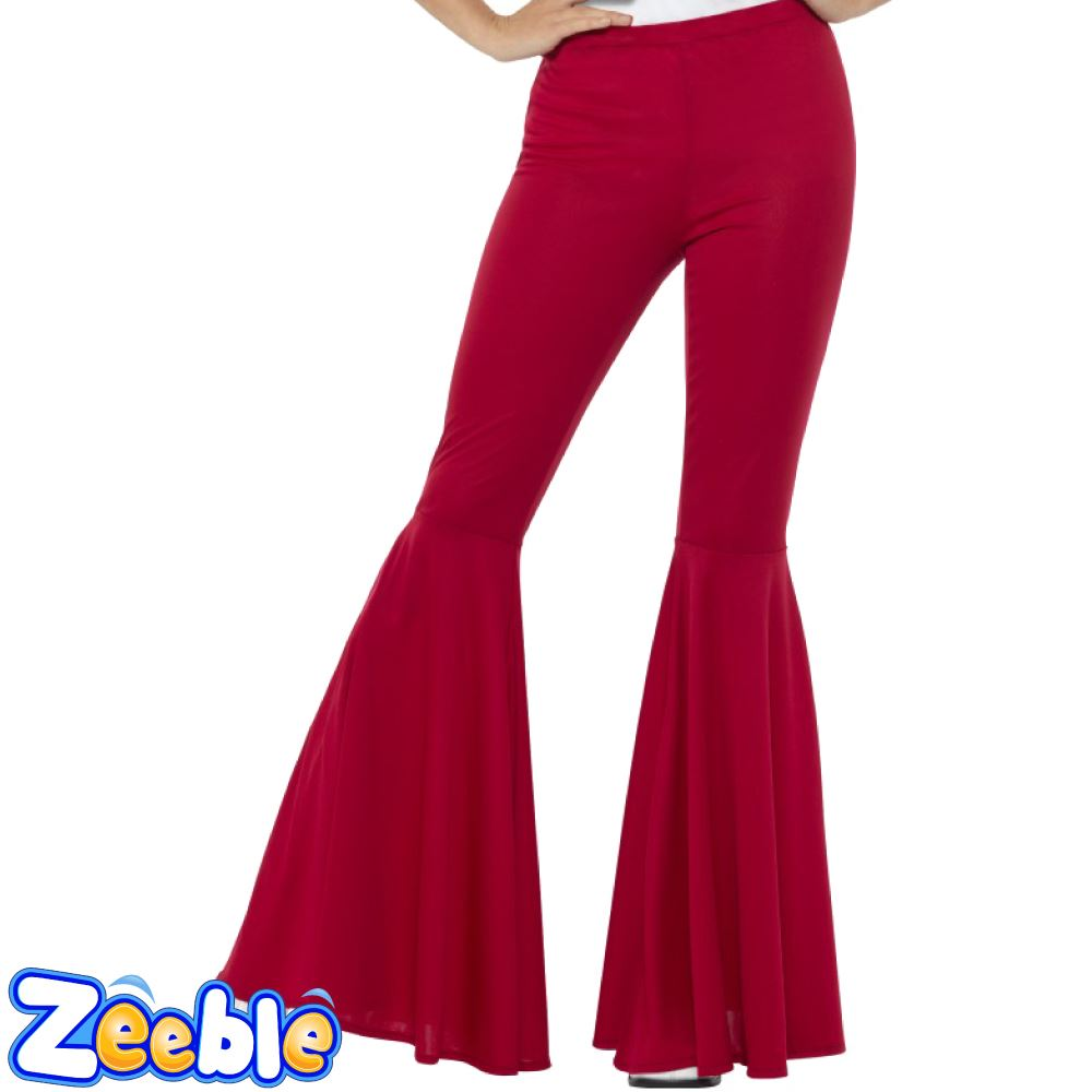 Ladies-1960s-Flared-Trousers-Fancy-Dress-Bell-Bottoms-Disco-Flares-1970s