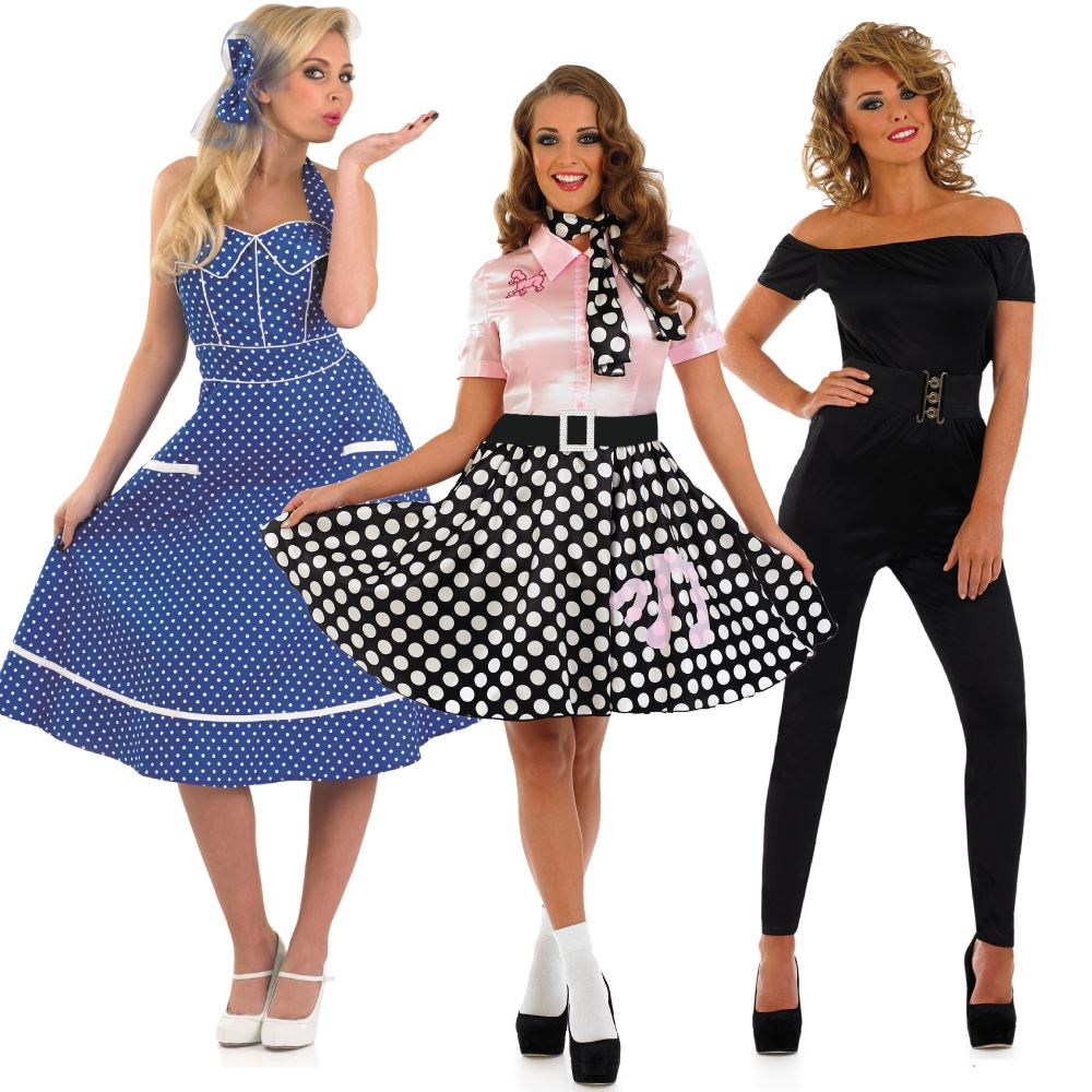 Adult 1950s Fancy Dress Ladies Sandy Costume Rock N Roll Outfit Ebay