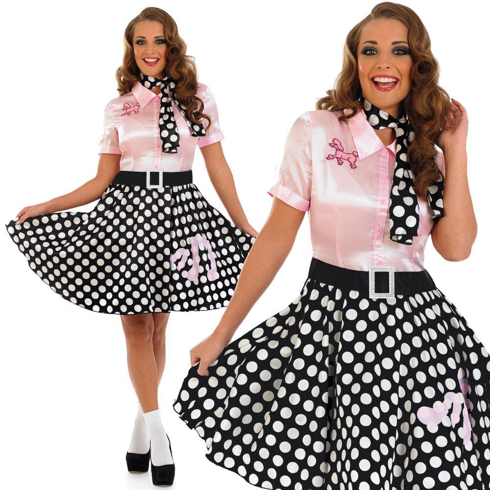 Adult 1950s Fancy Dress Ladies Sandy Costume Rock n Roll Outfit | eBay