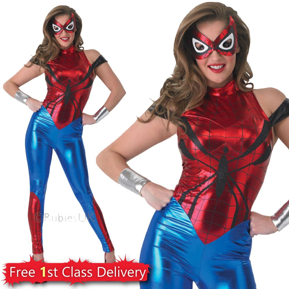 Spider-Girl-Fancy-Dress-Womens-Superhero-Costume-Marvel-  sc 1 st  eBay & Spider Girl Fancy Dress Womens Superhero Costume Marvel Licenced UK ...