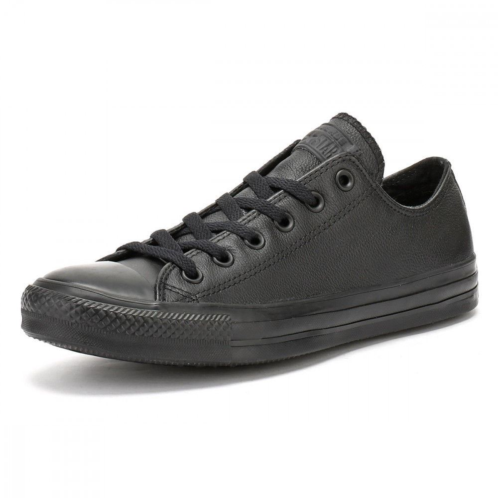 Converse hommes hommes Converse Chuck Taylor OX Leather Plimsolls Low Top Trainers noir and blanc 46dc22
