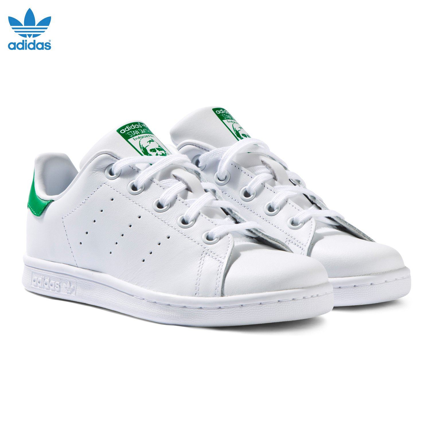 Adidas-Mens-Stan-Smith-Leather-Trainers-White-Navy-Green-Orange-and-Black thumbnail 7