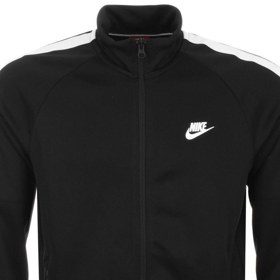 Dettagli su Nike Uomo Nike Tribute Cerniera Intera Pista Giacca Nero e Bianco