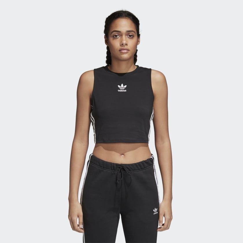 383b77a78e210b Details about Adidas Womens Crop Tank Top Vest Black (CY4745)