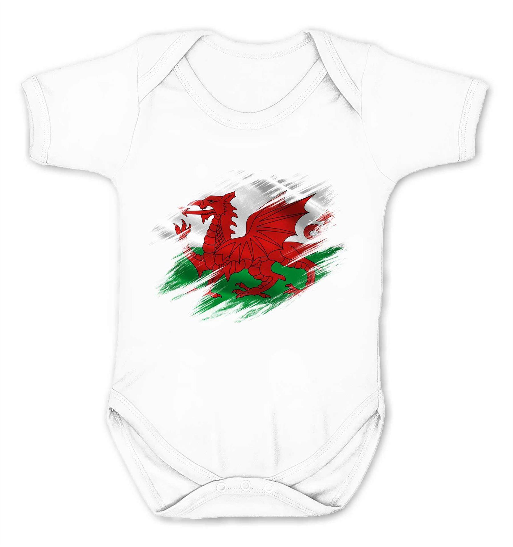 Wales Flag Kids Babygrow Welsh Rugby Supporter Sport Fan Newborn Gift