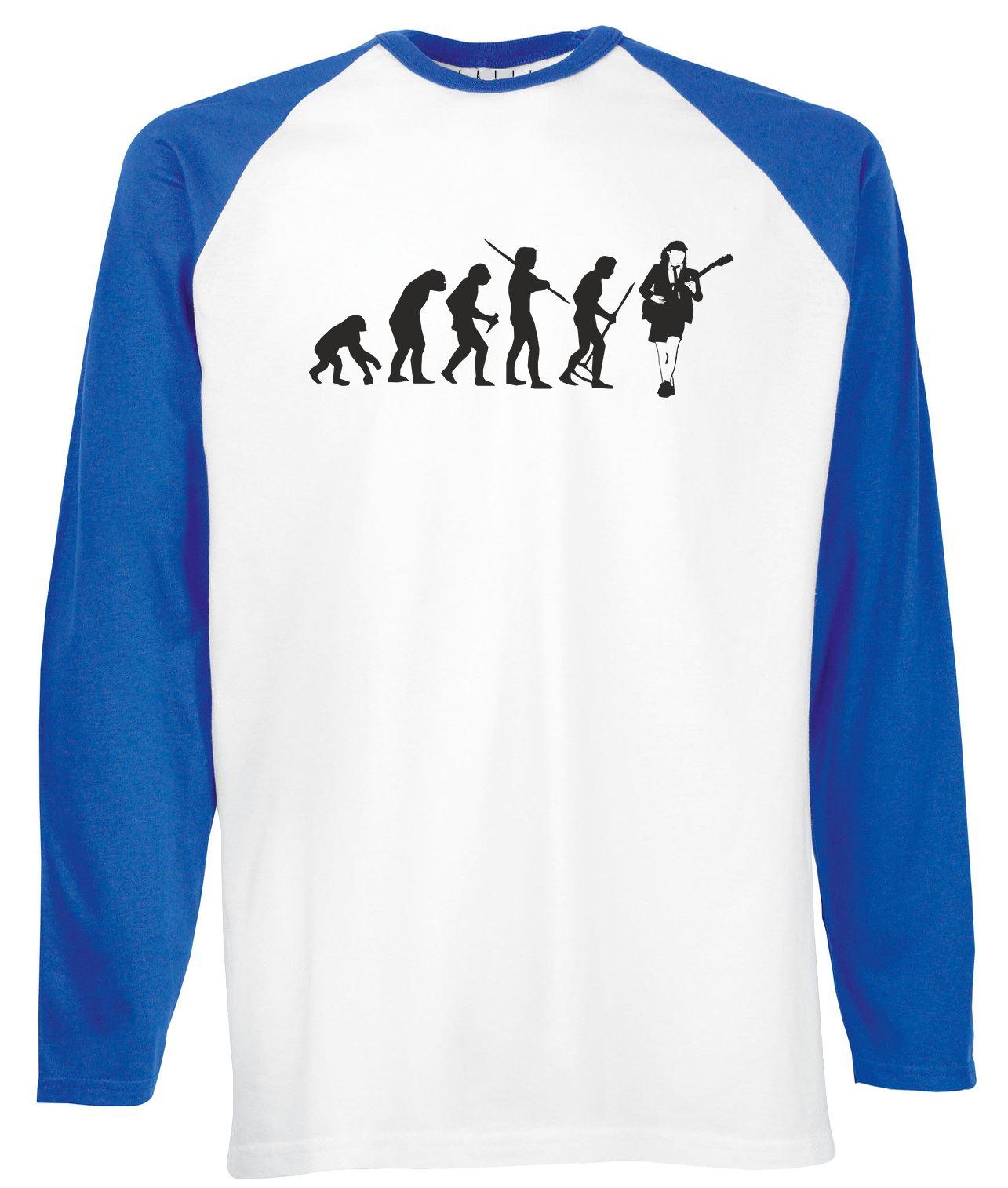 Evolution of Angus Young Long Sleeve Baseball T-Shirt AC DC music rock metal US