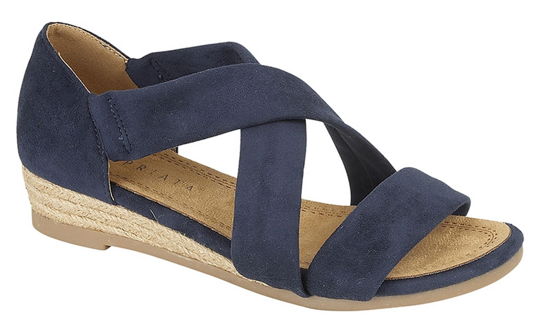 36570136101 Details about Ladies Womens Sandals Wedge Stretchy Heel-In Crossover Bar  Espadrilles Shoes
