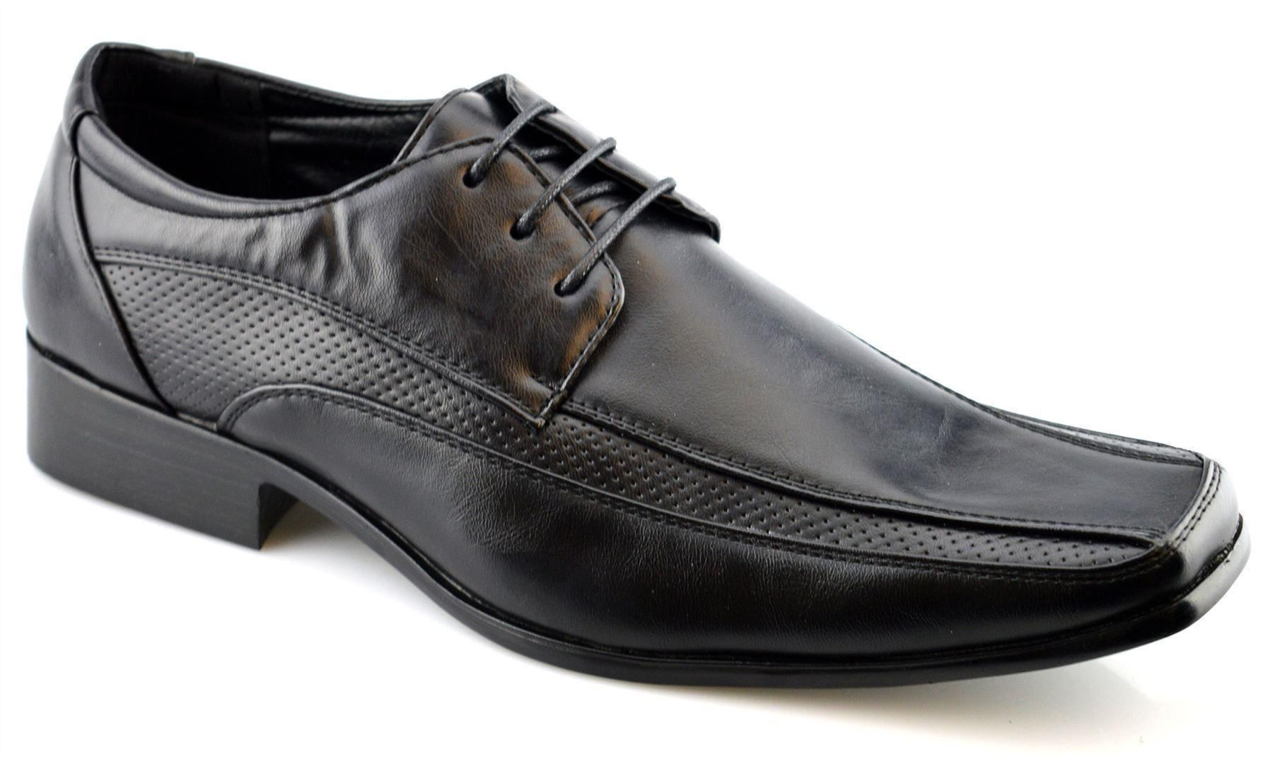 mens new smart wedding dress lace up work office oxford