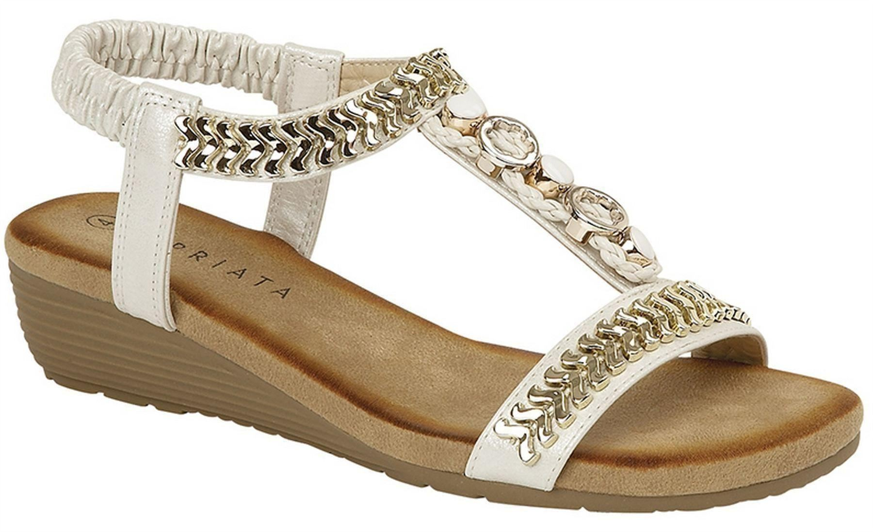 1925594c762 Ladies Womens Sandals Gold Jewelled Sling Back Low Wedge Shoes Size ...