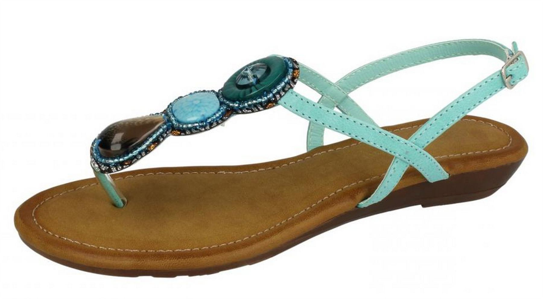 2ee3608c16e5 Ladies Womens Sandals Low Wedge Toe Post Ankle Strap Beaded Shoes Size