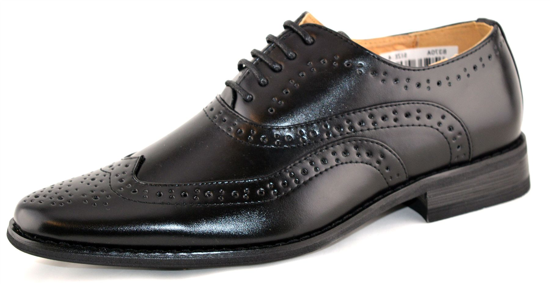 boys leather lined lace up wedding smart brogues black