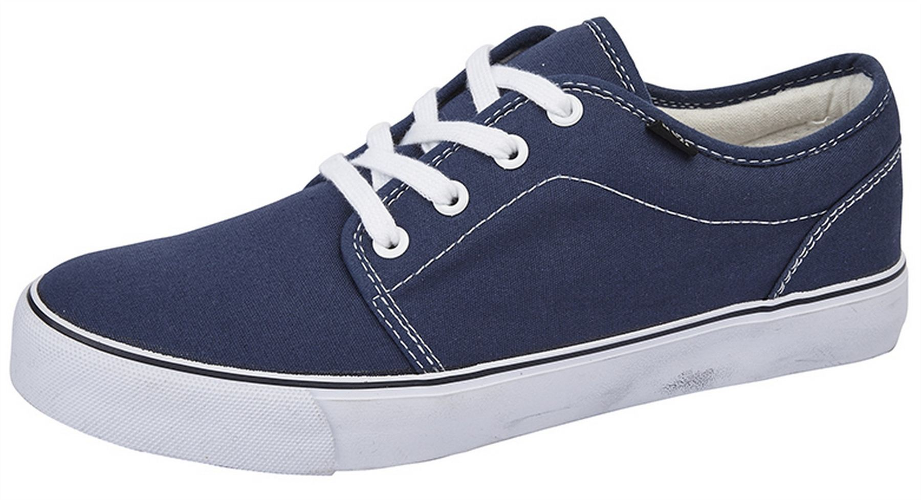 Mens Canvas Trainers Boxed Slip On Smart Casual Padded Collar Deck Shoes Size