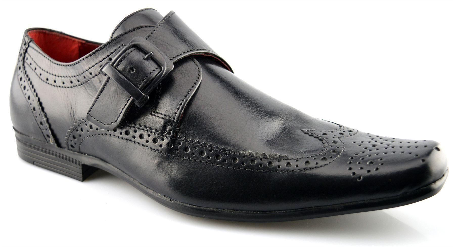 mens new leather single monk brogues wedding dress
