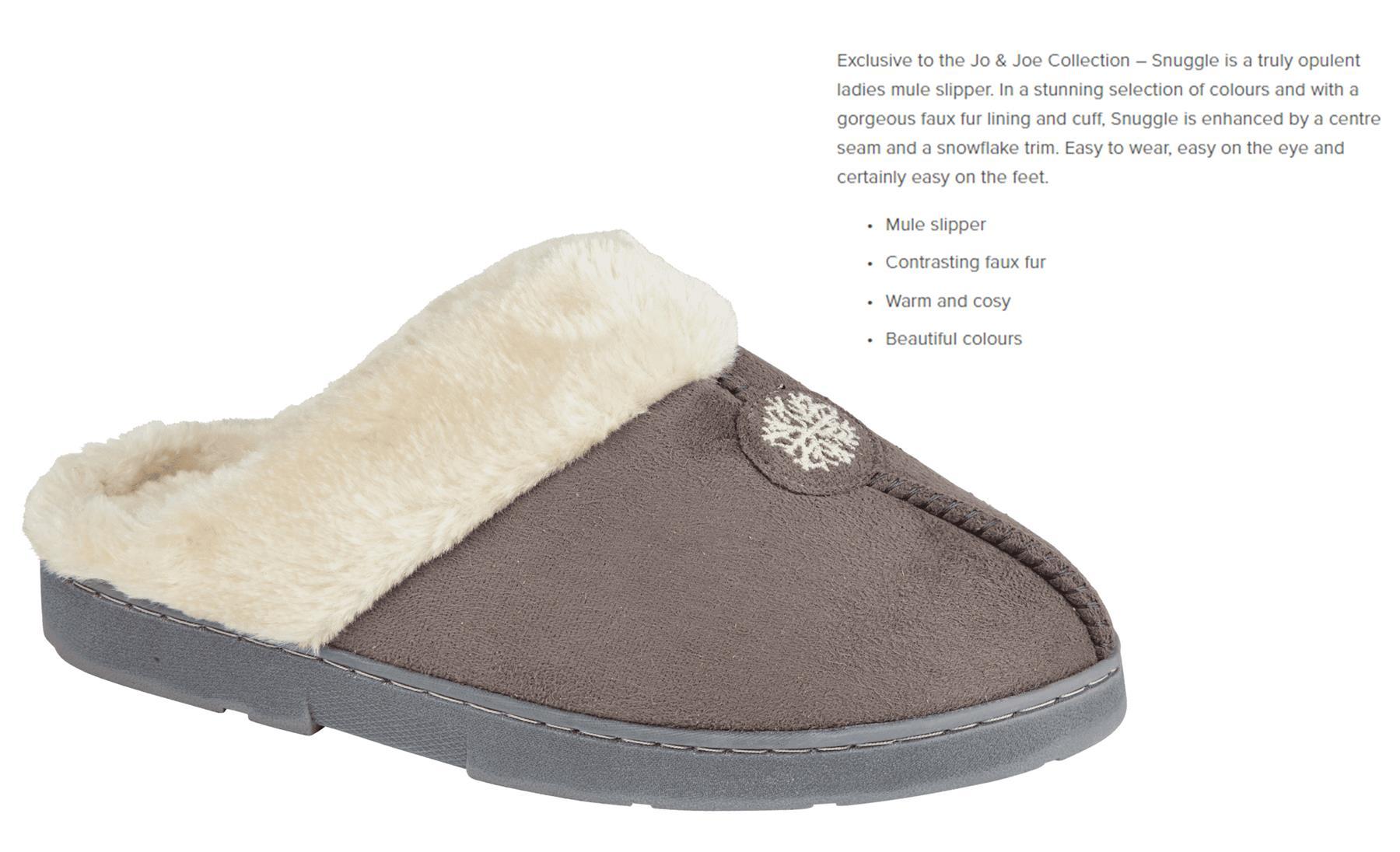 miniatuur 20 - Jo & Joe Womens Luxury Slippers Winter Warm Fur Slip On Flat Mule Bootie Girls