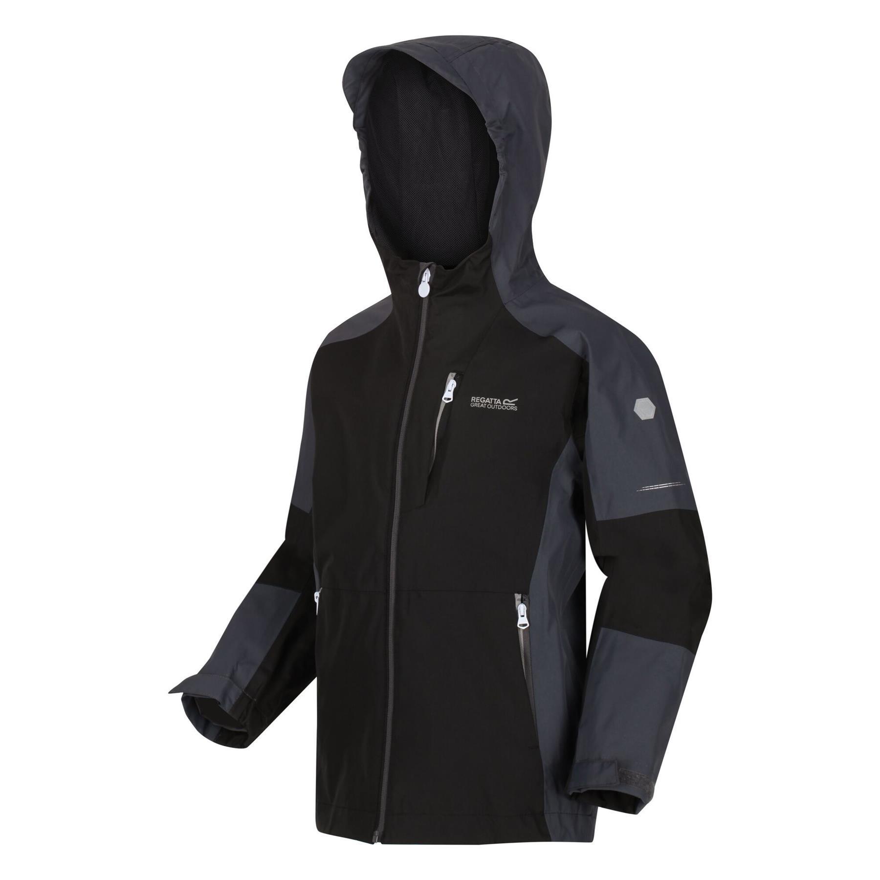 miniatuur 7 - Regatta Kids Calderdale II Waterproof Hooded Zip Pocket Jacket Boy Girls Coat
