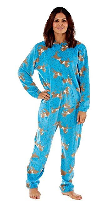 miniatuur 2 - Selena Secrets Womens All In One Horse Print Hooded Pyjama Loungewear, Nightwear