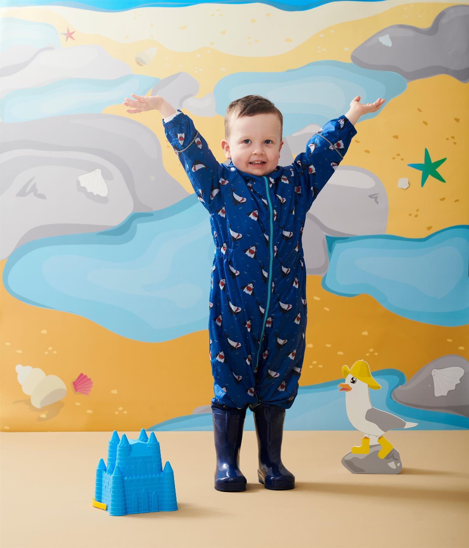 miniatuur 14 - Regatta Pobble Rain suit Waterproof All In One Childrens Kids Boys Girls