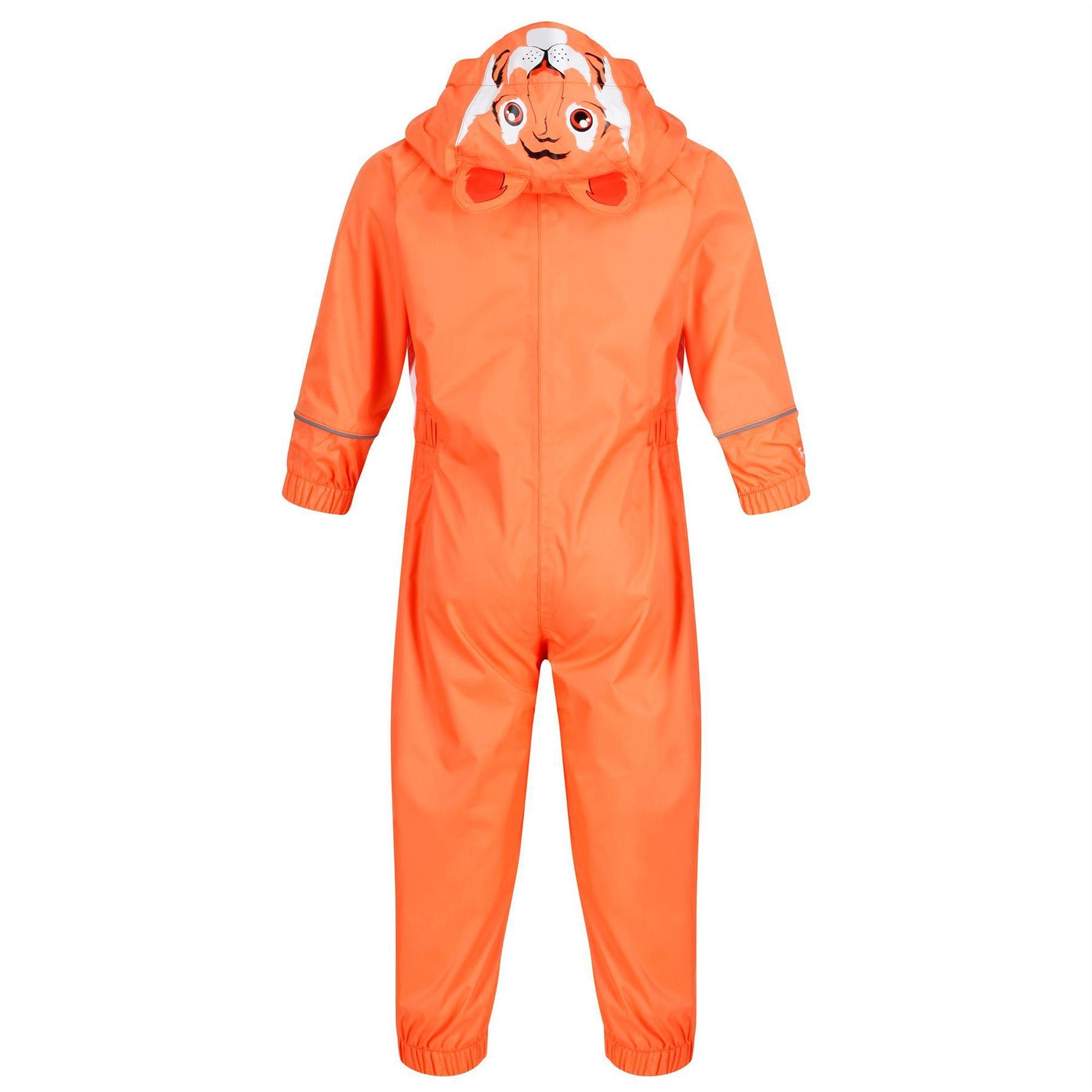 miniatuur 7 - Regatta Kids Charco All in Onezee Waterproof Puddle Suit Animal style Boys Girls