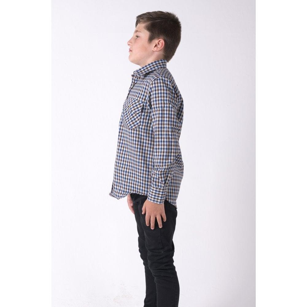 Kids Long Sleeve Tattersal Blue Green Check Country Classic Shirts 6mths-16yrs