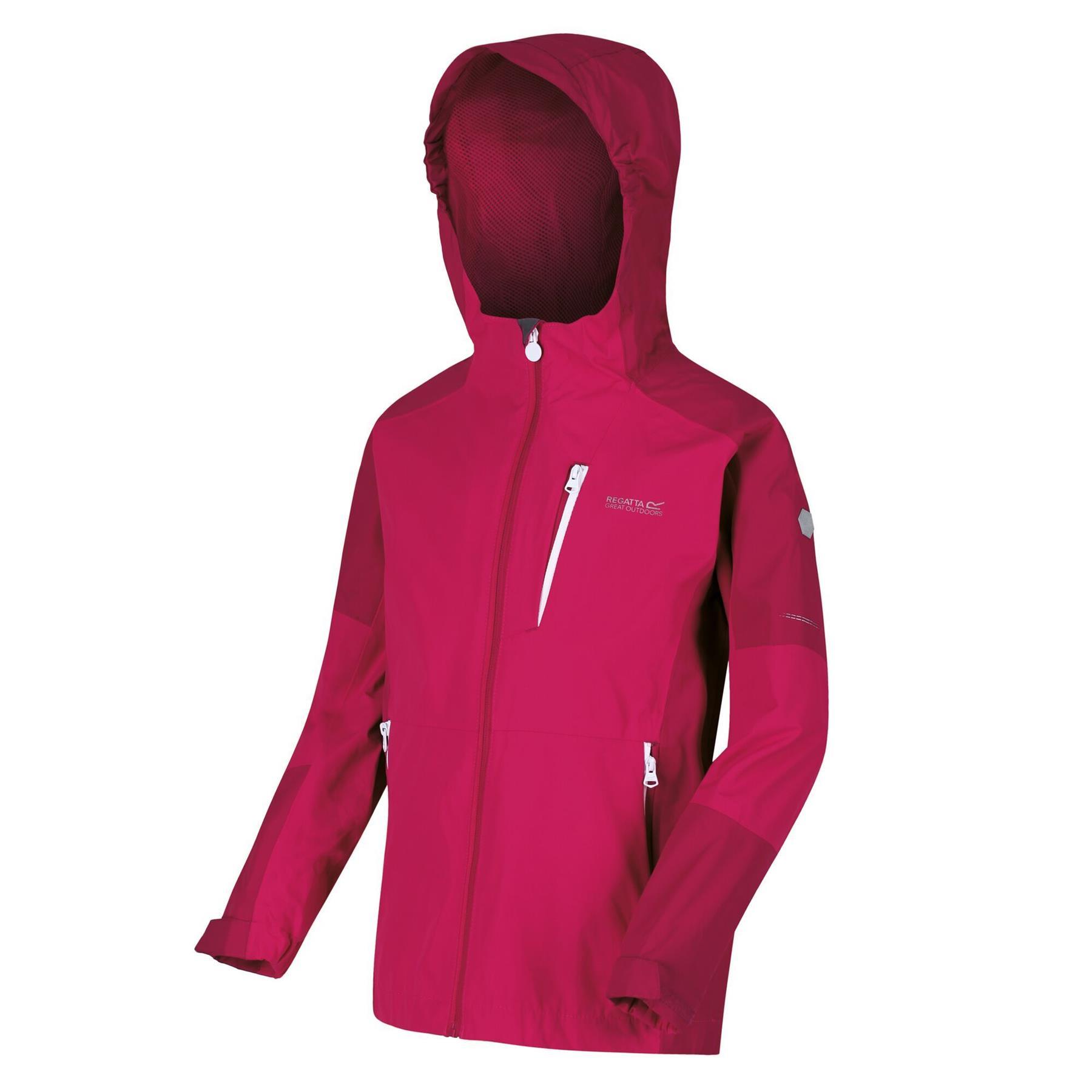 miniatuur 5 - Regatta Kids Calderdale II Waterproof Hooded Zip Pocket Jacket Boy Girls Coat