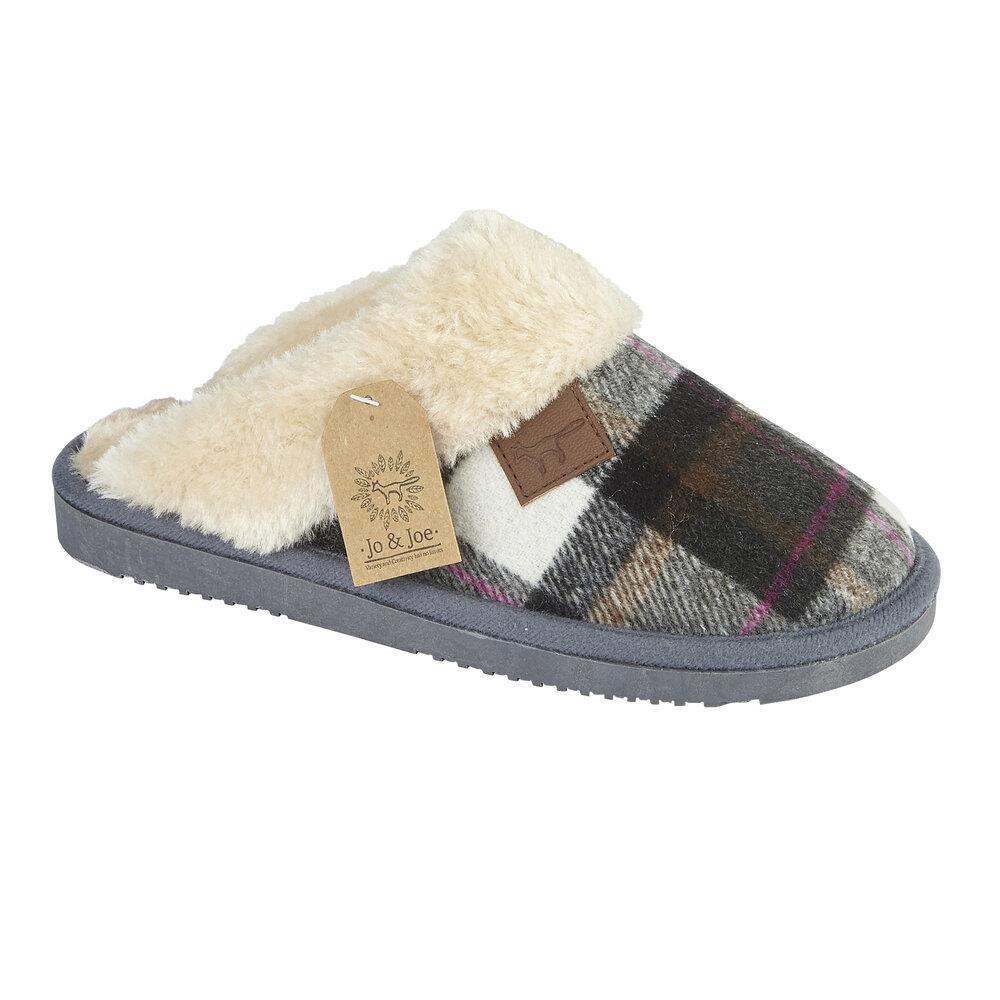 miniatuur 18 - Jo & Joe Womens Luxury Slippers Winter Warm Fur Slip On Flat Mule Bootie Girls