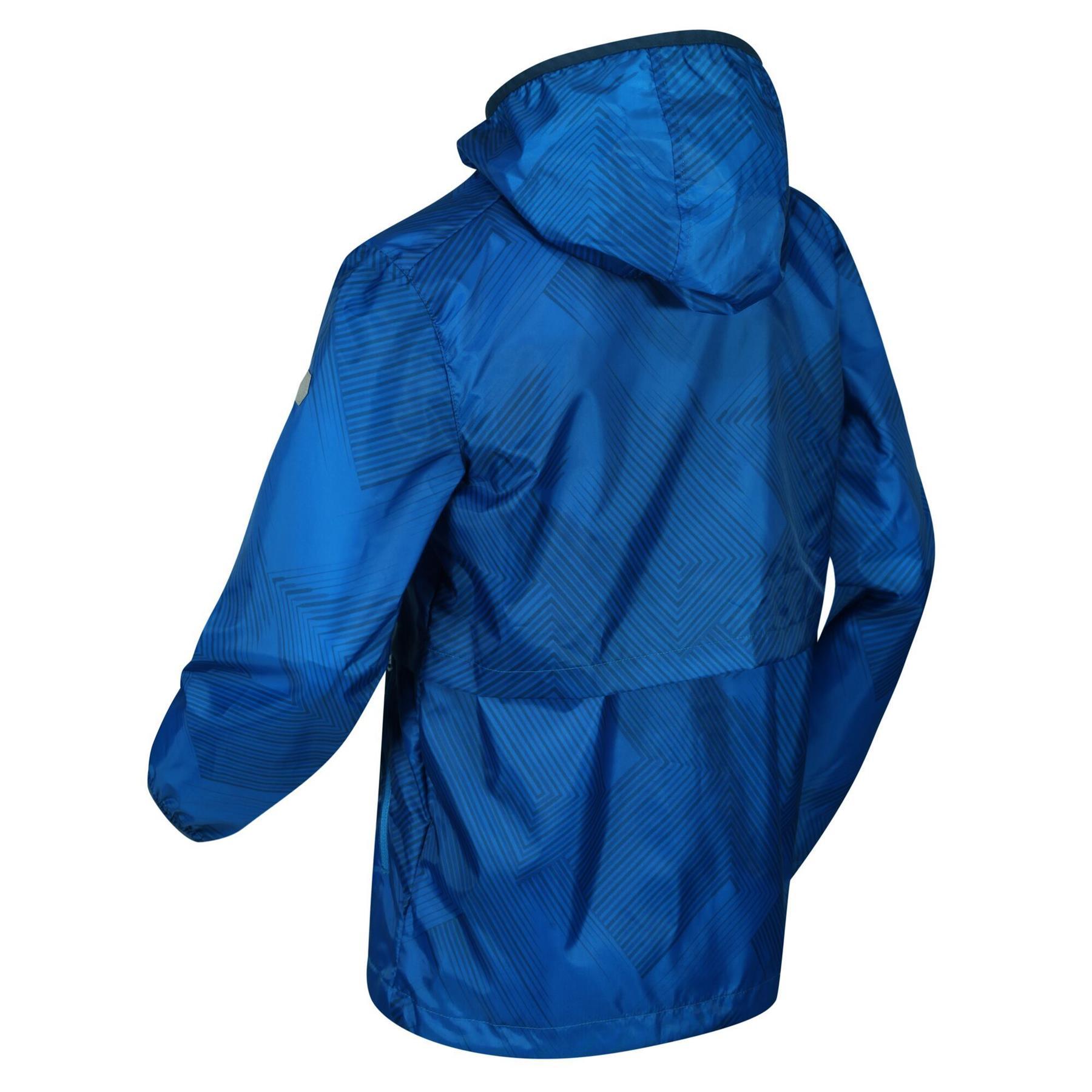 miniatuur 7 - Regatta Kids Bagley Waterproof Hooded Packable Jacket Boys Girls Rain Coat