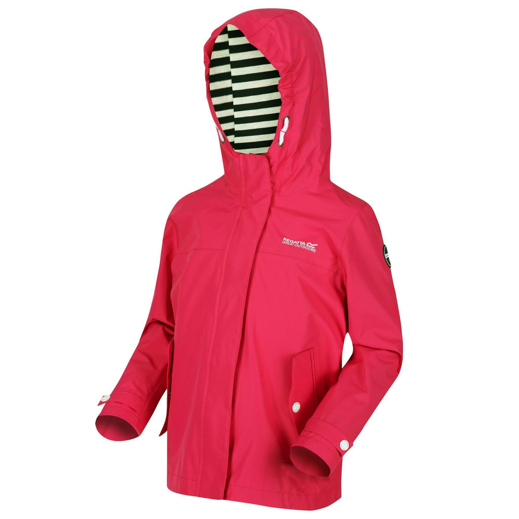 miniatuur 4 - Regatta Kids Bibiana Waterproof Hooded Zip Jacket Girls Boys Rain Coat