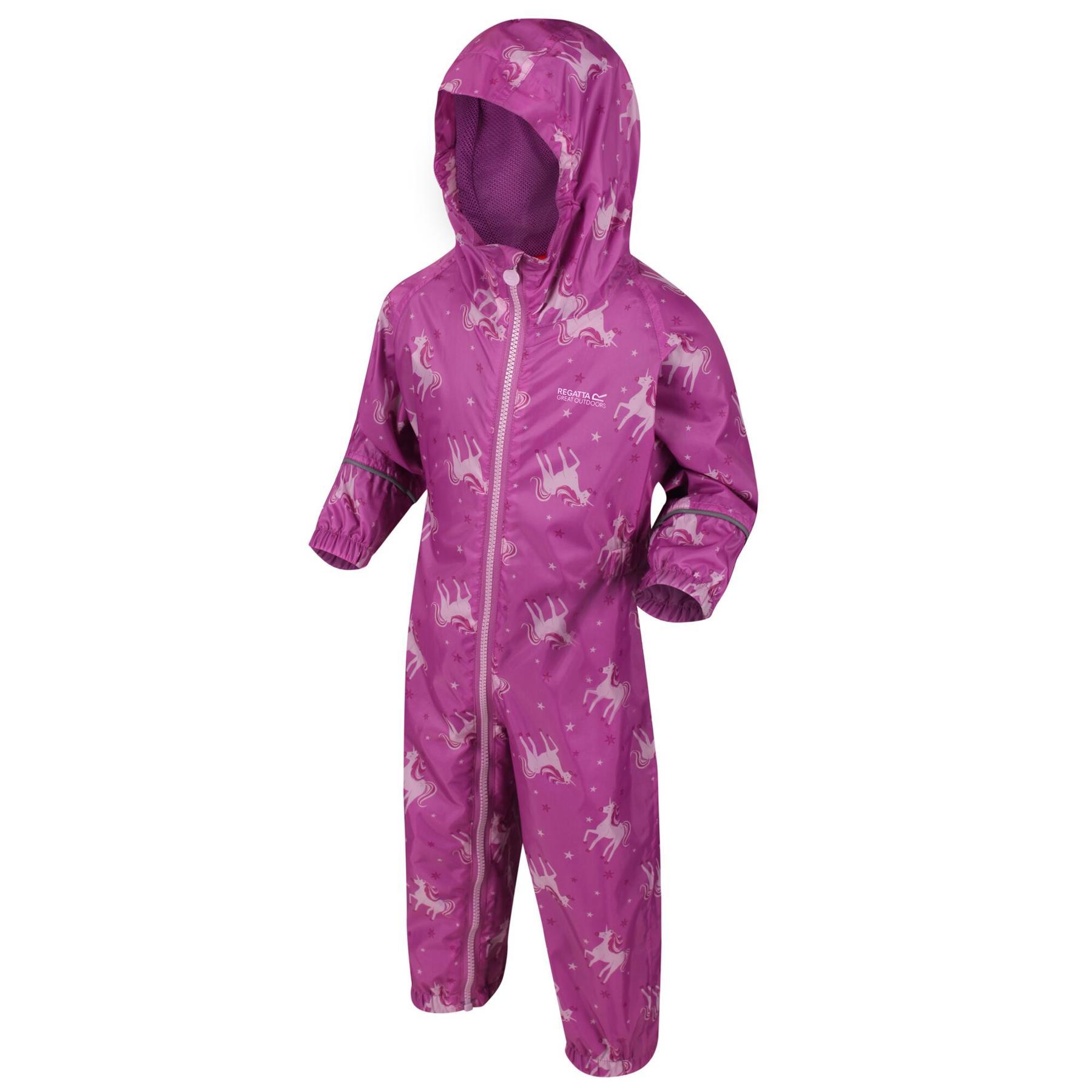 miniatuur 26 - Regatta Pobble Rain suit Waterproof All In One Childrens Kids Boys Girls
