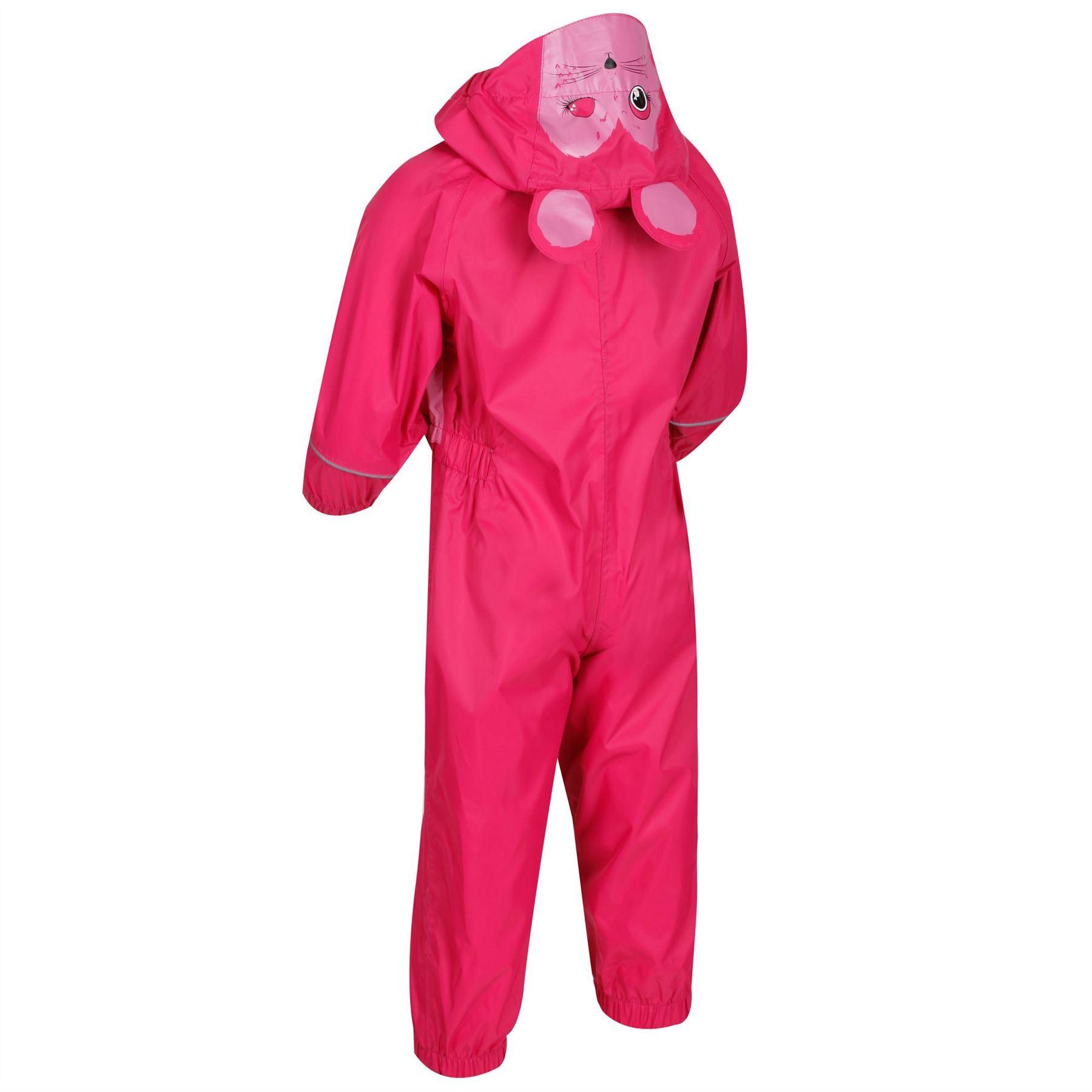 miniatuur 5 - Regatta Kids Charco All in Onezee Waterproof Puddle Suit Animal style Boys Girls