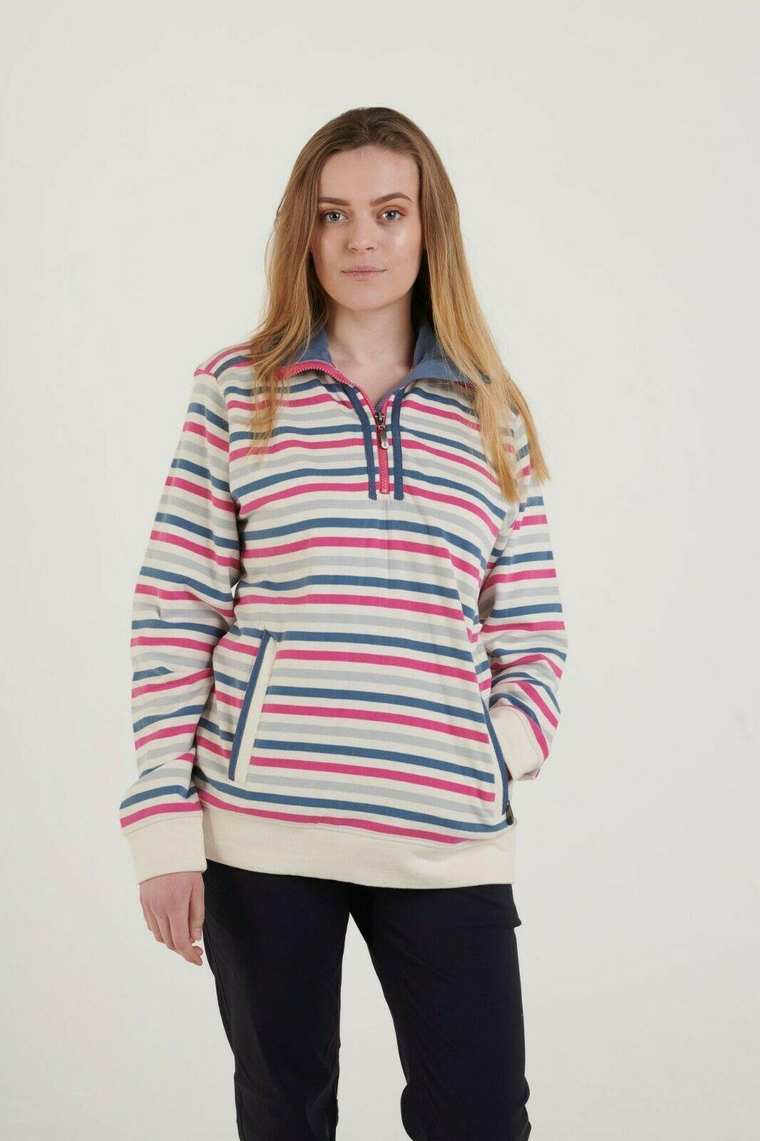 miniatuur 3 - Hazy Blue Womens Zip Neck Striped Cotton Sweatshirt Top Evie II Jumper cosy