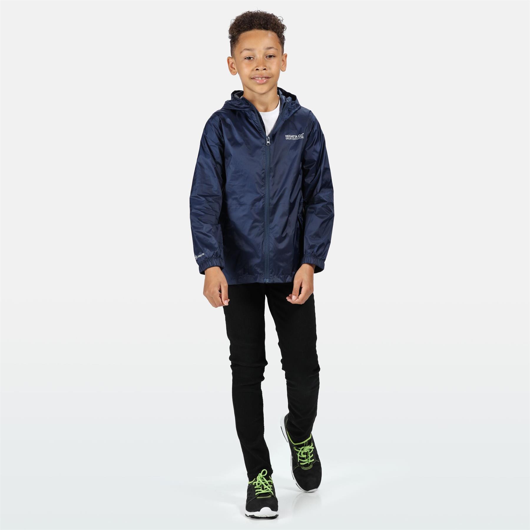 miniatuur 12 - Regatta Kids Waterproof Stormbreak Shell Jacket Hooded Rain coat Boys Girls