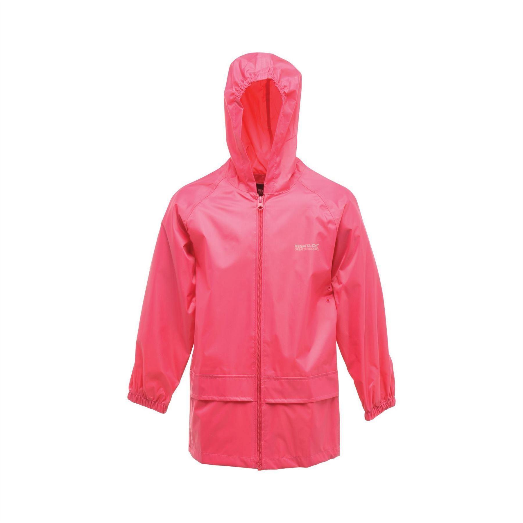 miniatuur 9 - Regatta Kids Waterproof Stormbreak Shell Jacket Hooded Rain coat Boys Girls
