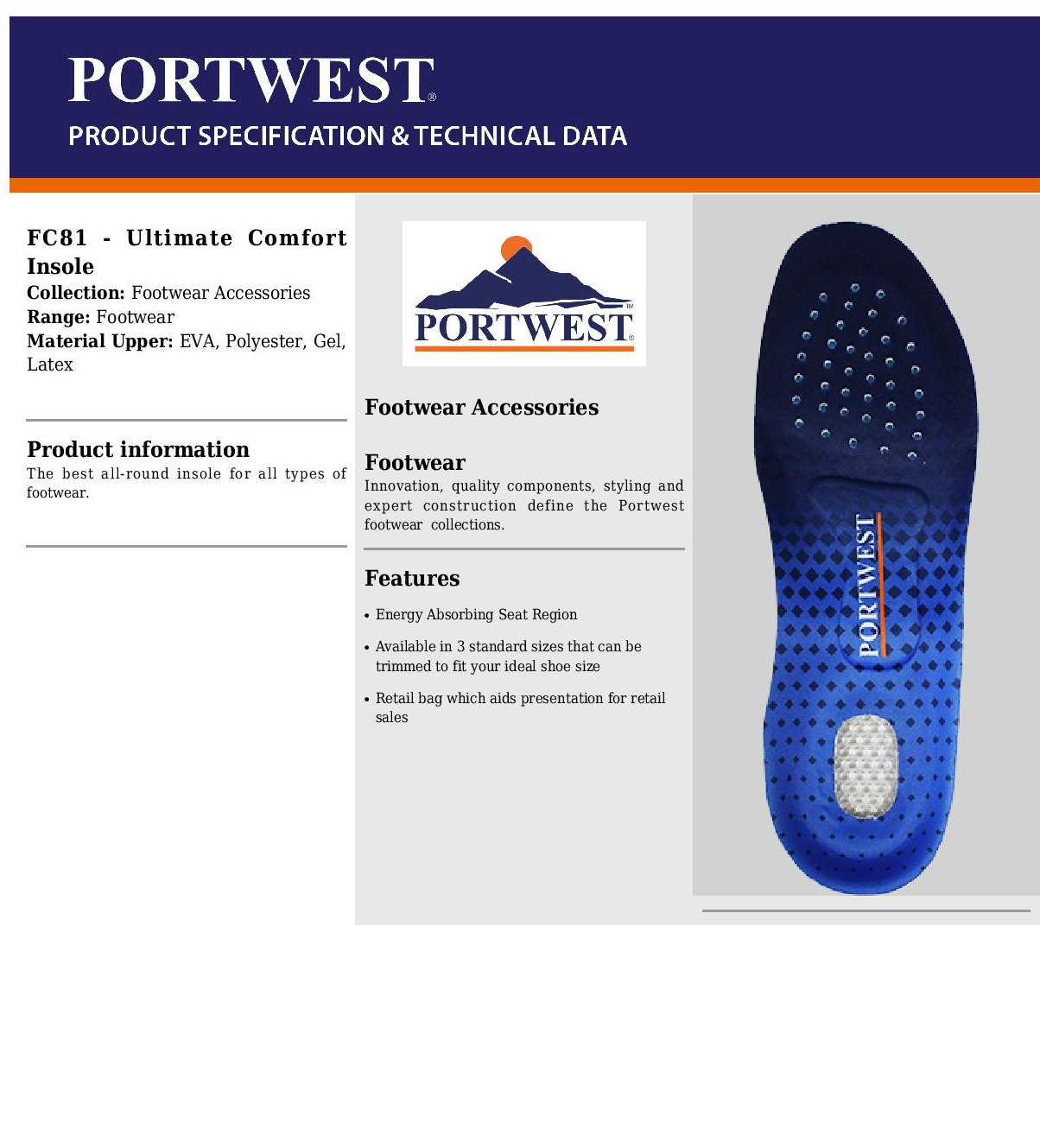 miniatuur 3 - Portwest Trimmable Ultimate Comfort Insole Shoe Cushion Trainer Inserts