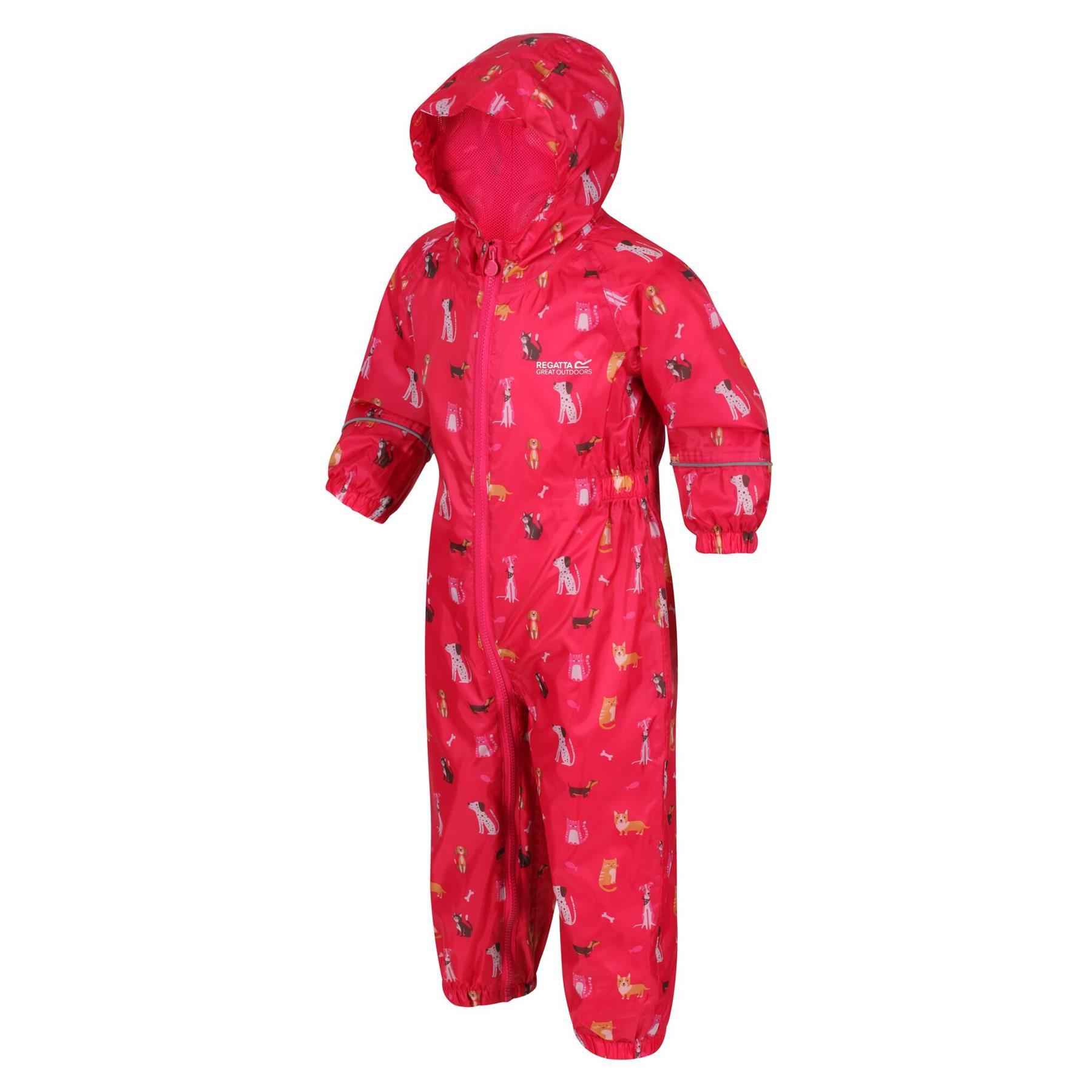 miniatuur 8 - Regatta Pobble Rain suit Waterproof All In One Childrens Kids Boys Girls