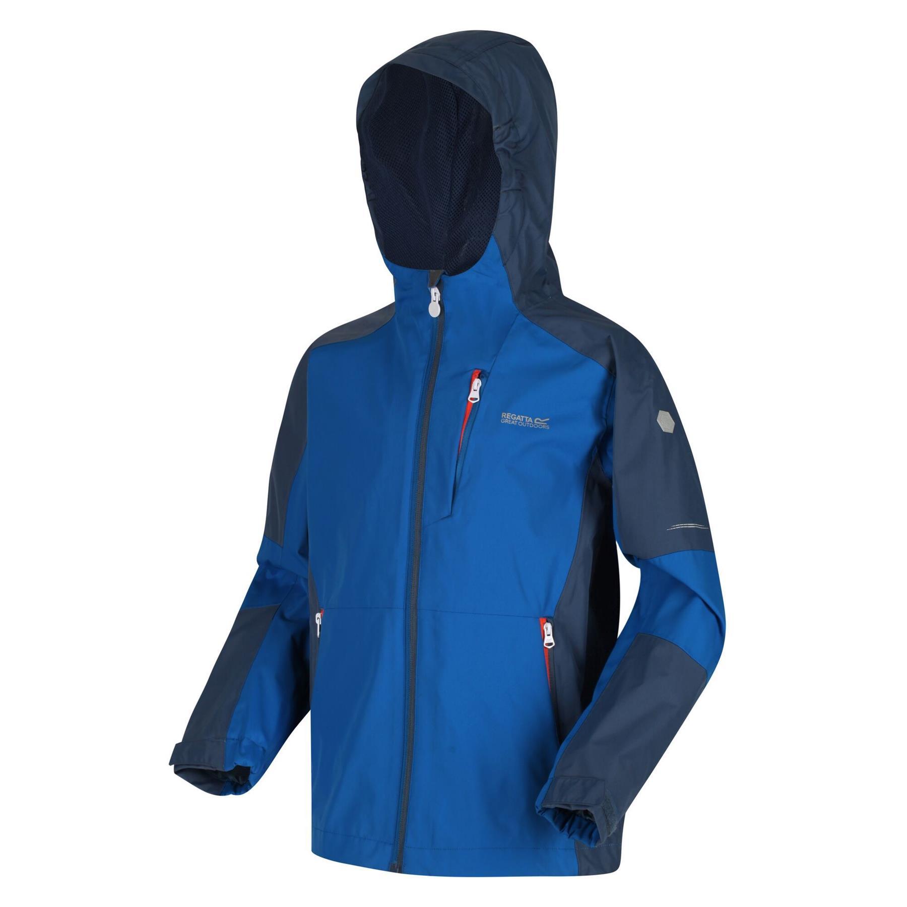 miniatuur 3 - Regatta Kids Calderdale II Waterproof Hooded Zip Pocket Jacket Boy Girls Coat
