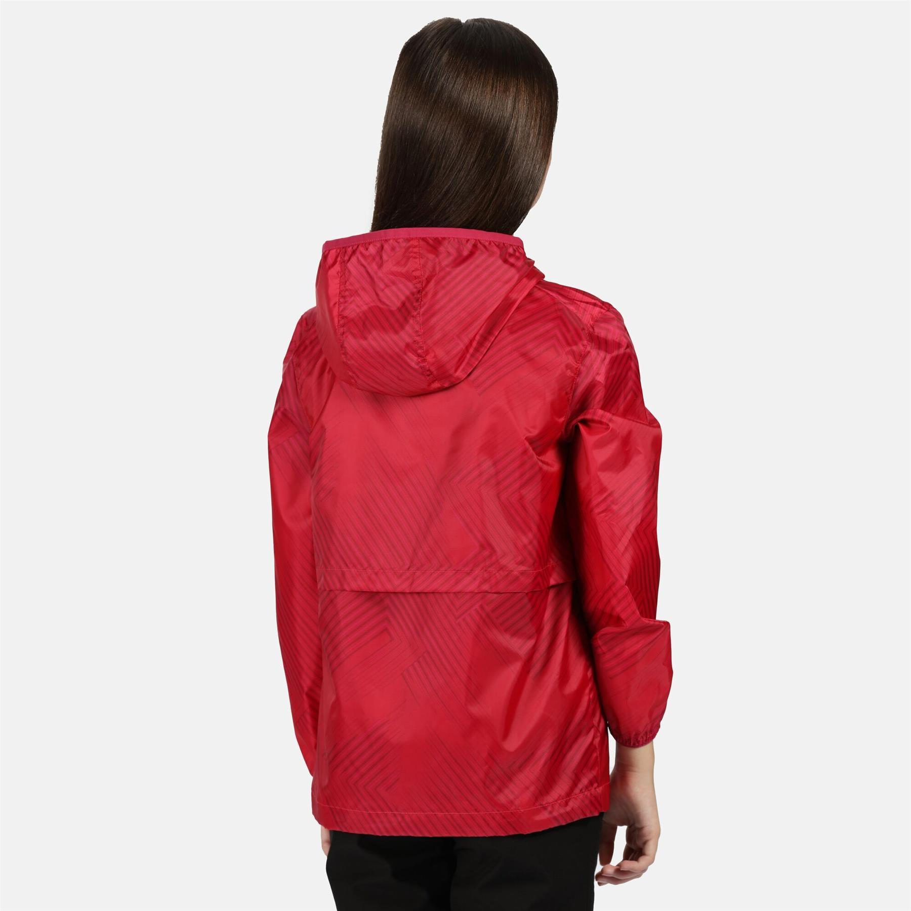 miniatuur 4 - Regatta Kids Bagley Waterproof Hooded Packable Jacket Boys Girls Rain Coat