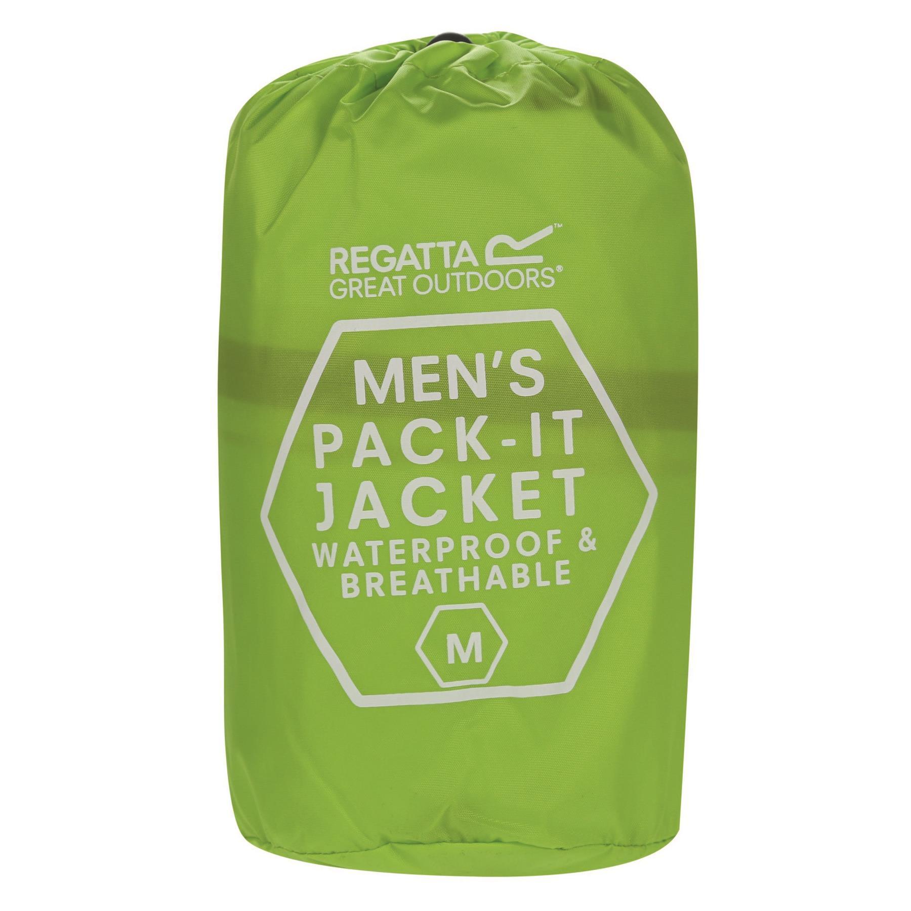 miniatuur 28 - Regatta Mens Pack-it In a bag Packable Waterproof Jacket Outdoor Pack a mac