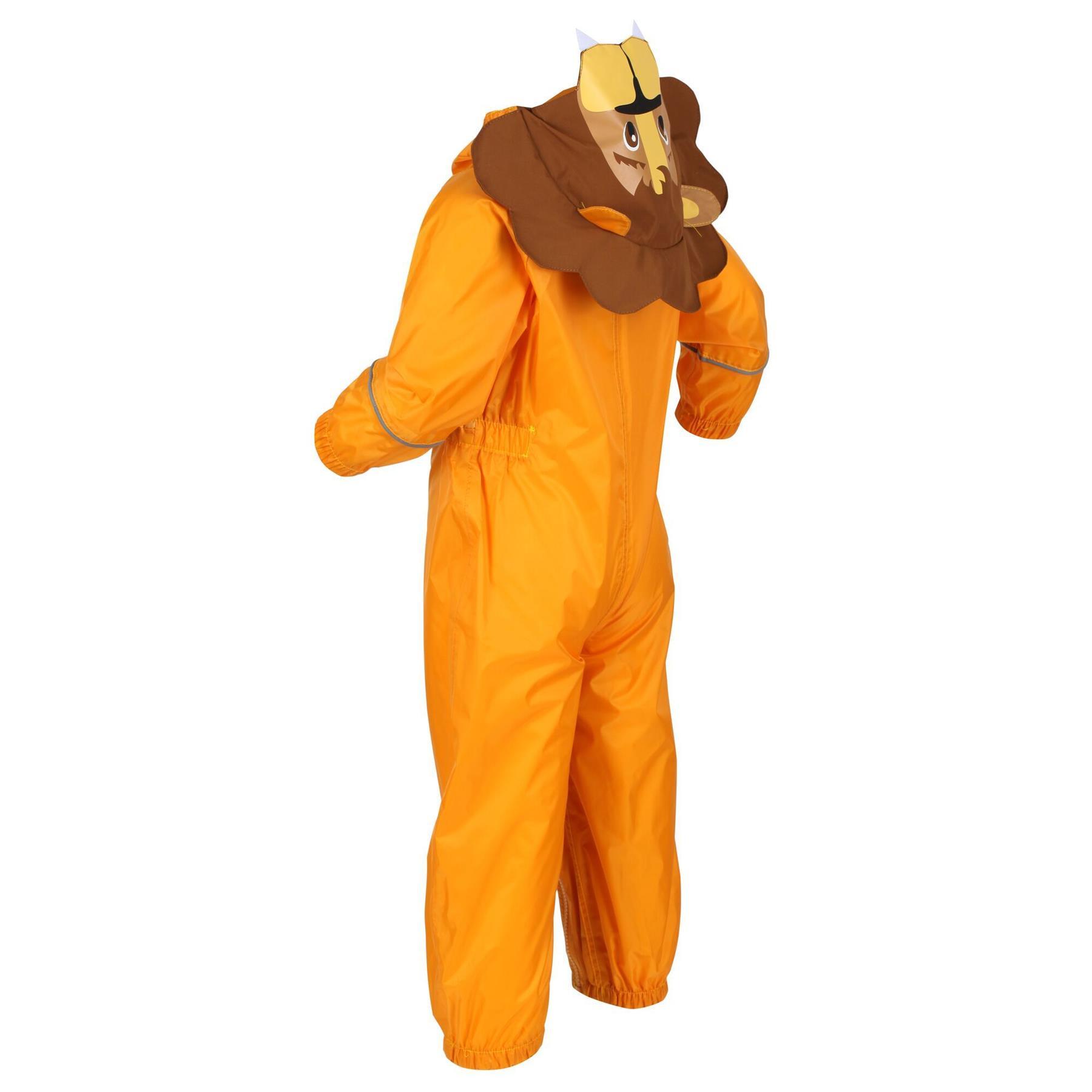 miniatuur 11 - Regatta Kids Charco All in Onezee Waterproof Puddle Suit Animal style Boys Girls